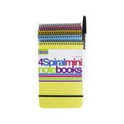 4 Spiral Bound Mini Notebooks With Pen
