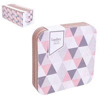 Geo Pink Grey Coasters 6 Pack