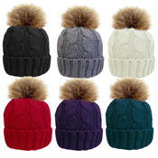 Ladies Cable Hat With Detachable Faux Fur Pom Pom