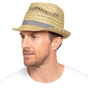 Mens Straw Trilby Hat With Striped Band