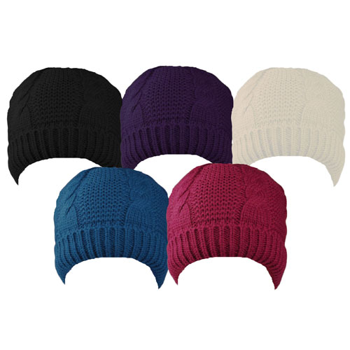 Ladies Cable Knit Beanie With Super Cosy Lining