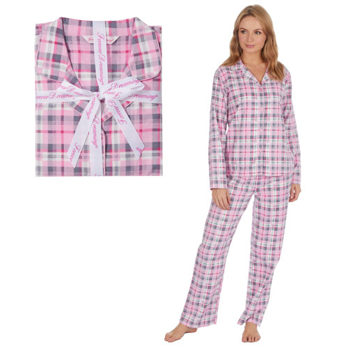 Ladies Printed Flannel Pyjama Set Pink-Grey Check