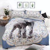 Aztec Elephant Blue Reversible Duvet Set