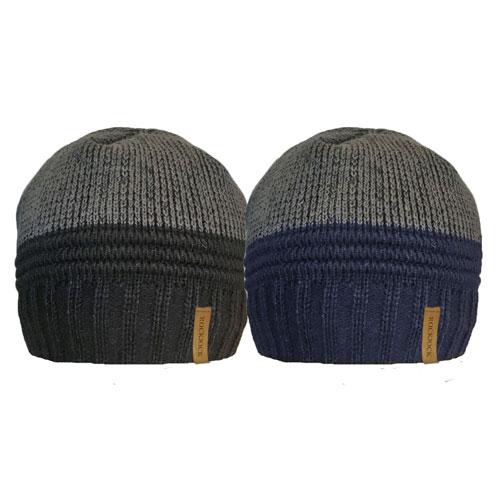 Mens 2 Tone Beanie Hat With Rib Cosy Fleece Liner Carton Price