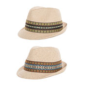 Adult Unisex Straw Trilby Hat With Pattern Band