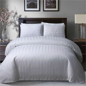 Satin Stripe White Hotel Quality Luxury Duvet Set