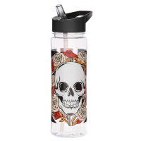 Reusable Water Bottle With Straw Skull And Roses