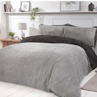 Cosy & Soft Ribbed Fleece Reversible Duvet Set Grey/Charcoal