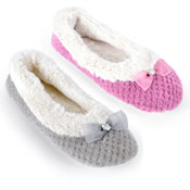 Ladies Textured Ballet Slippers With Bow Grey/Mulberry