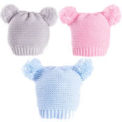 Baby Knitted Double Pom Pom Hat