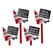 Christmas Naughty Elf Garden Sign Assorted