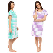 Ladies Stripe Short Sleeve Nightie