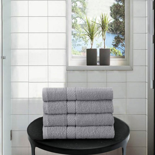 4 Pack Hand Towels Dickens Silver