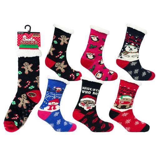 Ladies Heat Machine Novelty Christmas Slipper Socks