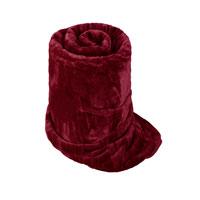 Faux Fur Mink Burgundy Blanket