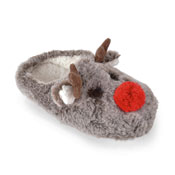 Ladies Plush Reindeer Soft Fleece Slipper