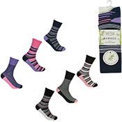 Ladies Non Elastic Bamboo Socks Striped