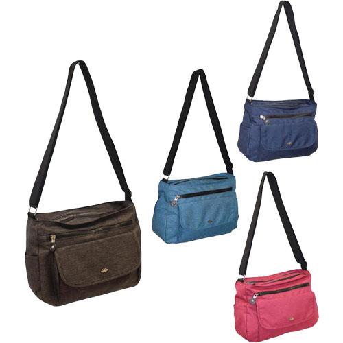 Ladies Crossbody Zip Bag With Flap Pocket