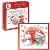 Traditional Christmas Cards Grey Bears