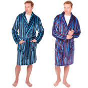 Mens Stripe Shawl Collar Dressing Gown