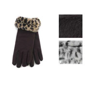 RJM Ladies Gloves With Fake Fur Cuff