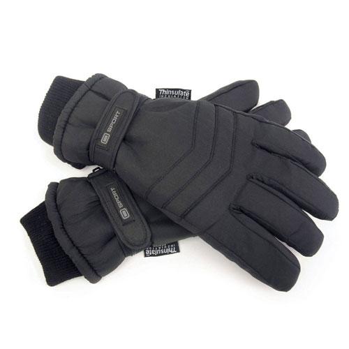 Mens Black Thinsulate Padded Ski Gloves