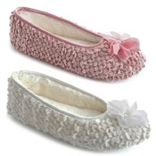 Ladies Chiffon Flower Trim Ballet Slippers