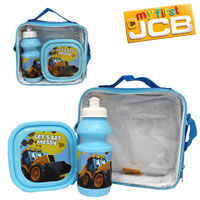 Official Joey JCB 3 Piece Lunch Bag Set Blue