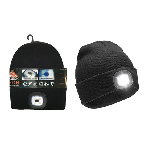 Adults Hat With Removable Torch Light Black