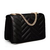 Ladies Luxury Zig-Zag Quilted Crossbody Black