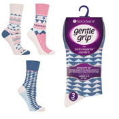 Ladies Gentle Grip Diamond Chevron Socks