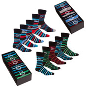 Pierre Roche Stripe Socks in a Box Mens