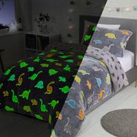 Dinosaur Glow In The Dark Fleece Duvet Set