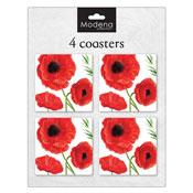 Poppy Flower 4 Pack Coasters