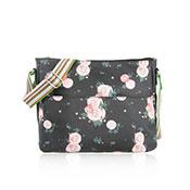 Blossom Design Cross Body Bag Black