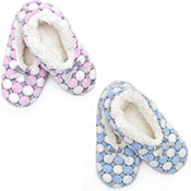 Ladies Soft Knit Slipper Socks Blue/Pink