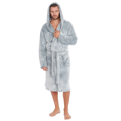 Mens Soft Fleece Hooded Gown Plain Grey