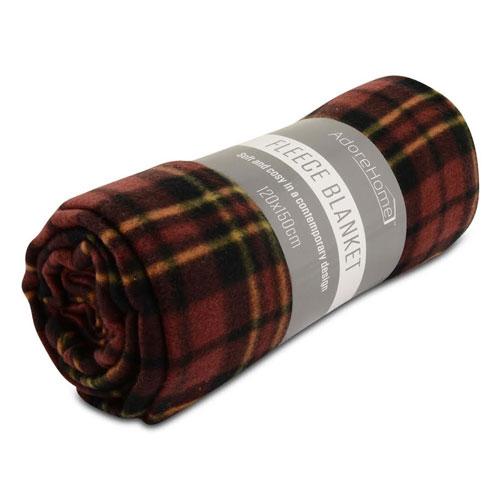 Fleece Blanket Chequered Burgundy Small