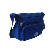 Brianna Nylon DrawString Bucket Bag Blue