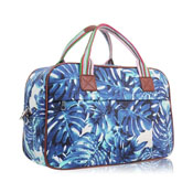 Hawaiian Leaf Design Weekend Bag Blue