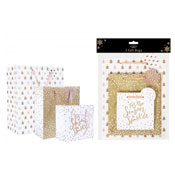 Christmas Pack Of Three Gift Bags Gold