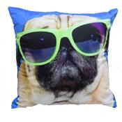 Percy Blue Pug Sunglasses Cushion Cover