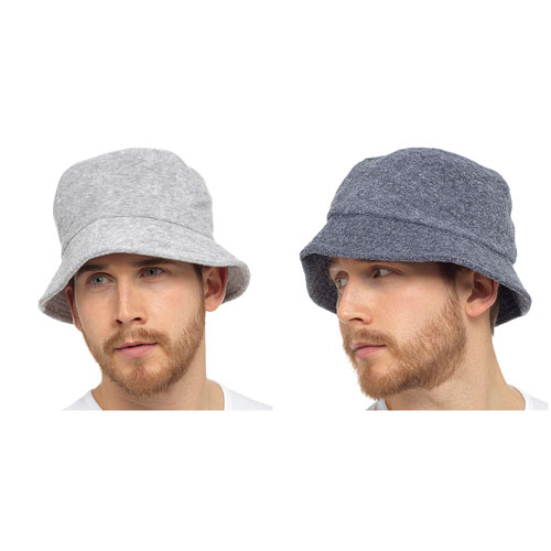Mens Towelling Bucket Hat Grey/Navy