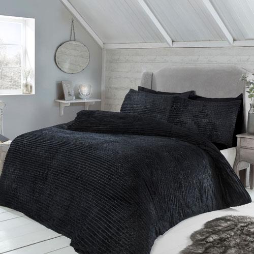 Sparkle Ribbed Fleece Duvet Set Black