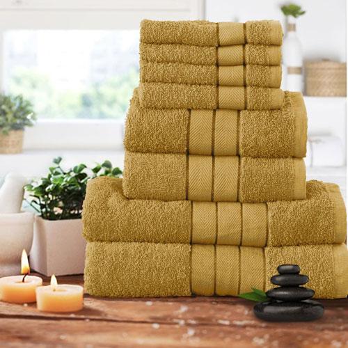 Luxurious 8 Piece Towel Bale Set Mustard / Ochre