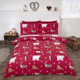 Brushed Cotton Duvet Set Winter Animals Red