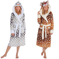 Ladies Christmas Design Dressing Gowns with Hood