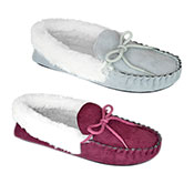 Ladies Fur Trim Moccasin Slipper Shoes