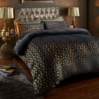 Super Soft Metallic Star Duvet Set Charcoal/Gold