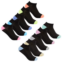 Ladies 5 Pack Mesh Insert Trainer Socks Twisted Yarn